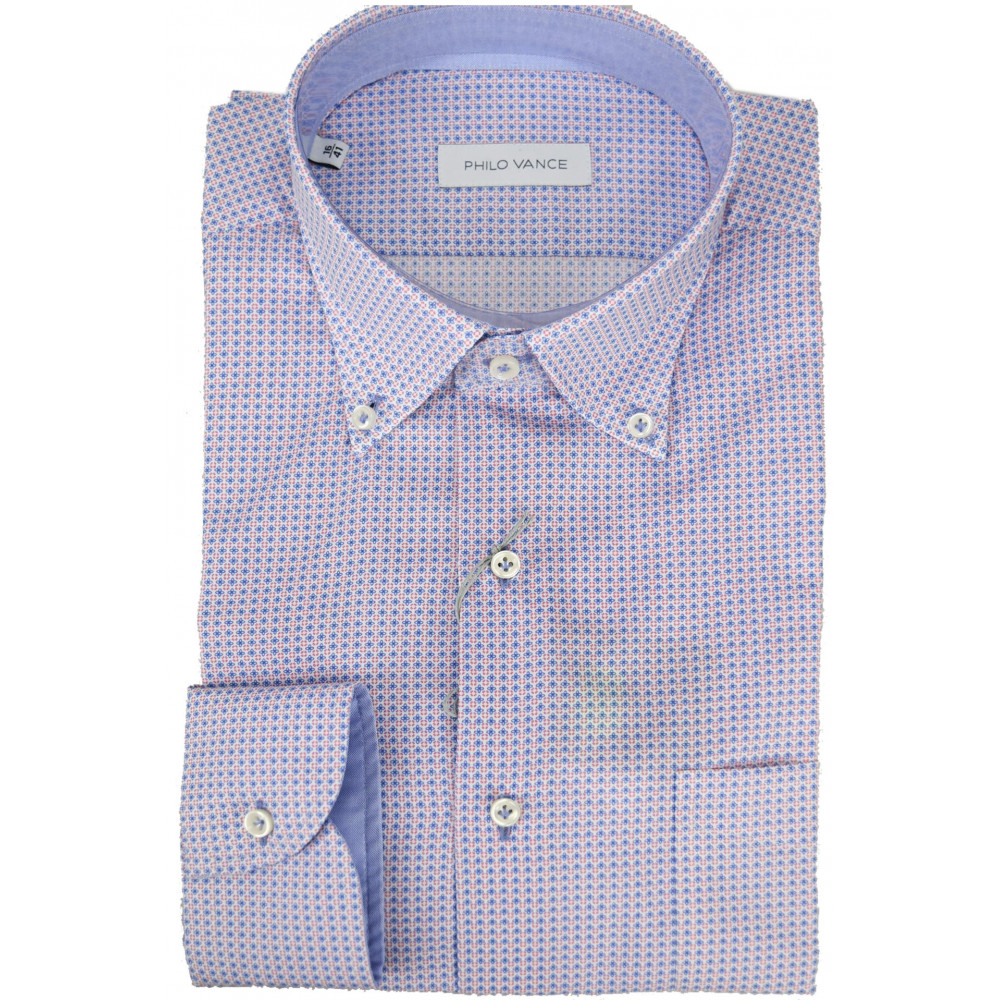 Shirt Man Small Fantasy Red Blue Button Down - Philo Vance - Garda