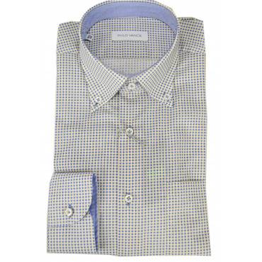 Camicia Uomo Piccola Fantasia Giallo Blu Button Down  - Philo Vance - Garda