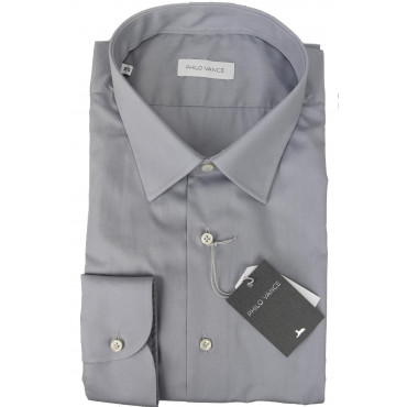 Man shirt, Formal Grey Tintaunita neck French - Philo Vance - the Azores