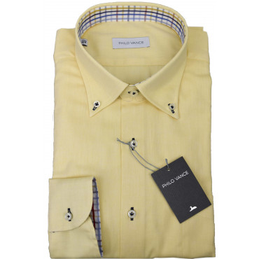 Camicia Uomo Giallo Oxford Fiammato Button Down  - Philo Vance - Lavagna