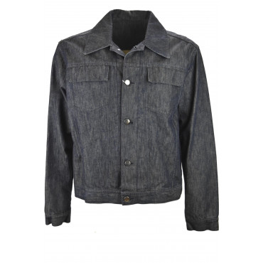 JEANS JACKET Man 50 L Casual Cotton Dark Blue - No Brand Sample Men's Suits, Jackets and Vests