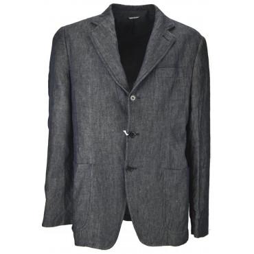 GIACCA JEANS Uomo 50 L 3Bottoni Casual Blu Scuro Cotone Stropicciato - No Brand Sample Abiti Uomo, Giacche e Giubbotti