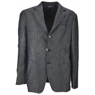 JEANS JACKET Man 50 L 3Buttons Casual Dark Blue Wrinkled Cotton - No Brand Sample Man Suits, Jackets and Vests