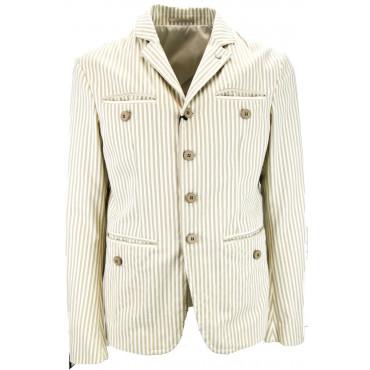 Mauro Grifoni Men's 50 L Casual Cotton Stripe Jacket Ecru / Beige - Mauro Grifoni Men's Suits, Jackets and Vests