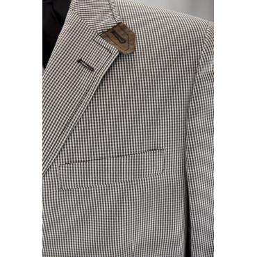 Man Jacket 50 L Vichy Checks Brown White Cotton 3Buttons PE 39619