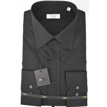 CASSERA Camisa de Hombre de Cuello Negro Italia Popelina