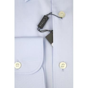 CASSERA Camicia Uomo Elegante Celeste Collo Italia da abito senza taschino