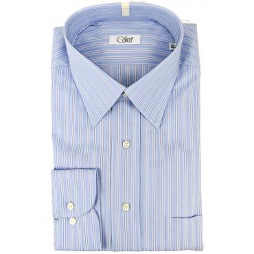 Man Shirt Lines Heavenly Blue Neck Italy - Cassera