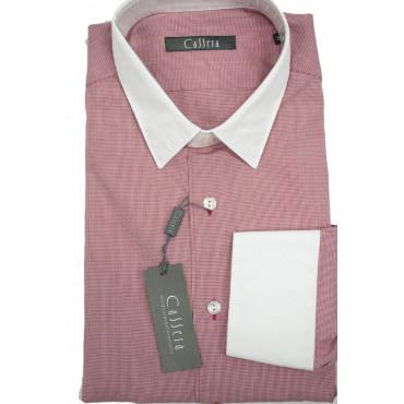 CASSERA Camicia Uomo 16 41 Rossa Collo Bianco