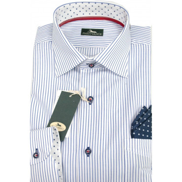 Man shirt 41-16 neck French Lines, Blue on White, with a Clutch collar and the polka Dots - Philo Vance