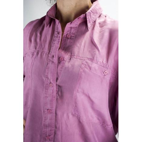 Shirt Of Pure Silk Stonewash Pink Tintaunita - S M L - Long Sleeve