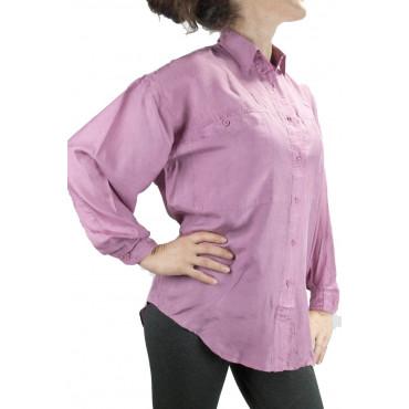 Camisa De Seda Pura Stonewash Rosa Tintaunita - S M L - Manga Larga