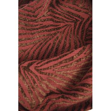 Couvre-lit Copritutto Double 260x270 Velours Jaquard Zebra Bordeaux