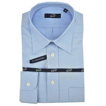 Camicia Uomo Classica Collo Italia Oxford Celeste -