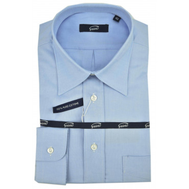 Man Shirt Classic Neck Italy Sky Blue Oxford -