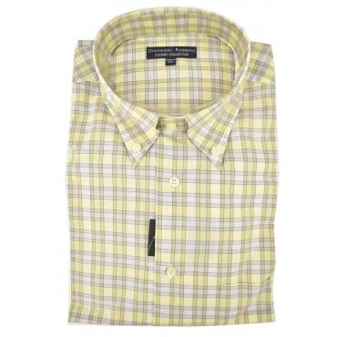 Camicia Uomo Classica Giallo Chiaro Quadri Lillà Collo Button Down Popeline Cotone con Taschino Camicie