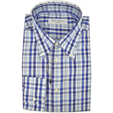 Shirt Sartorial Man, Button Down 16½ 42 Squares Blue Heavenly