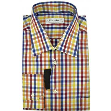 Camicia Uomo Quadri Blu Arancio Giallo collo Francese