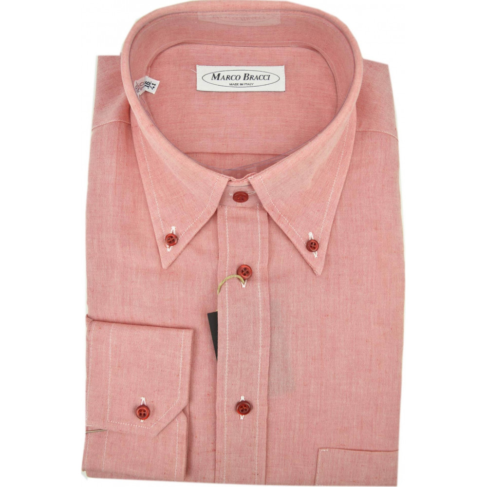 Made To Measure Shirt Men 16 41 Coral Red FilaFil Button-Down Collar