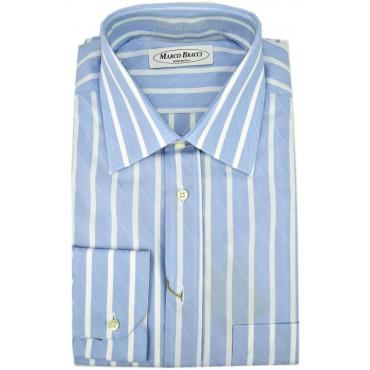 Camicia Sartoriale Uomo Righe Celeste Bianco  Button Down