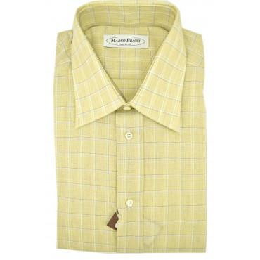 Camicia Uomo 100% Puro Lino Giallo Quadri Collo Francese polsino gemelli  +ricambi
