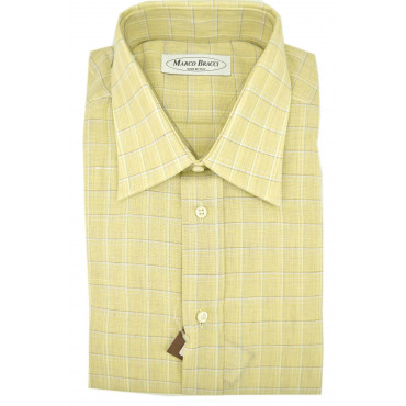 Man shirt 100% Pure Linen Yellow square Neck French cuff cufflinks +spare parts