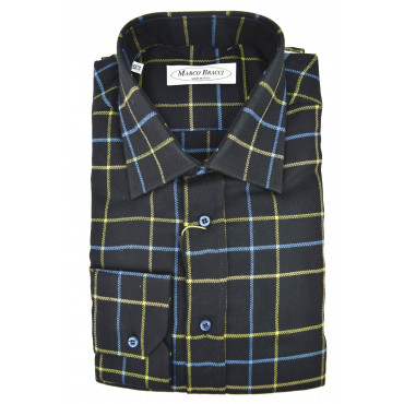 Man Shirt French Blue-Yellow-Checkered Turquoise