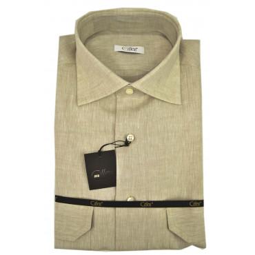 Man shirt Pure Linen Beige spread collar 2 chest Pockets
