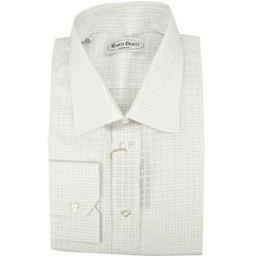 Camicia Uomo Quadretti Bianco Lillà Collo Francese