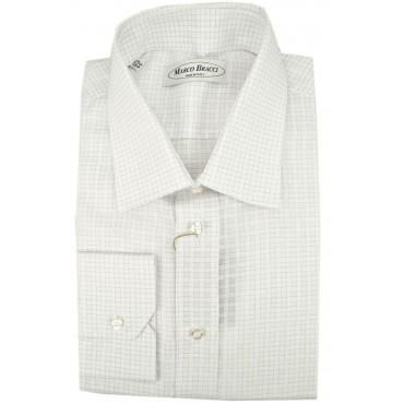 Man Shirt Checkered White Lilac Spread Collar