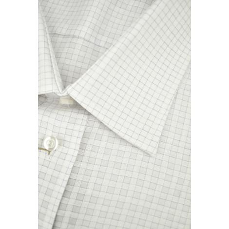 Man Shirt Checkered White Lilac Spread Collar