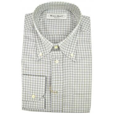 A Medida Hombres De Camisa A Cuadros Blanco Gris Botón De Abajo