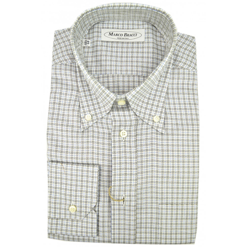 Made To Measure Shirt Men Checkered White Gray Button Down