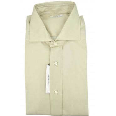 Man shirt Beige Twill Cotton spread collar