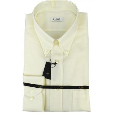 T-shirt Mann Elfenbein Piquet verwendung Leinen Button Down