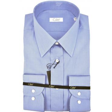 CASSERA Shirt 17½ 44 Blue Tintaunita Filafil Neck Italy