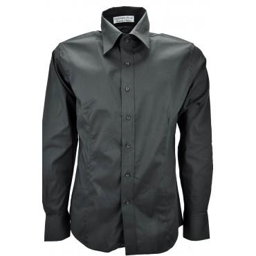 Camicia Uomo Nero Tintaunita SlimFit Cotone Elasticizzato