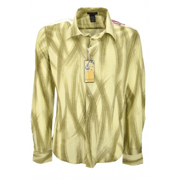 Custo Man Shirt Beige Brushstrokes Brown - embroidery on the shoulders