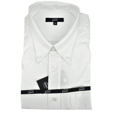 El Hombre De La Camisa Blanca Clásica Oxford Con Botones En El Cuello