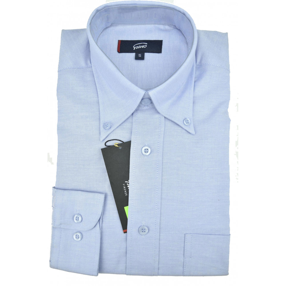 Camicia Uomo Celeste Oxford  ButtonDown Classica