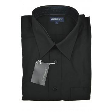 Man Shirt Classic Absolute Black Poplin Collar Italian