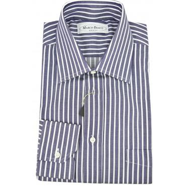 Camicia Sartoriale Uomo Blu Righe Bianco collo Francese