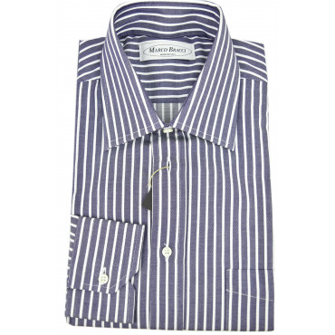 Made to measure shirt Man Blue White Stripes spread collar