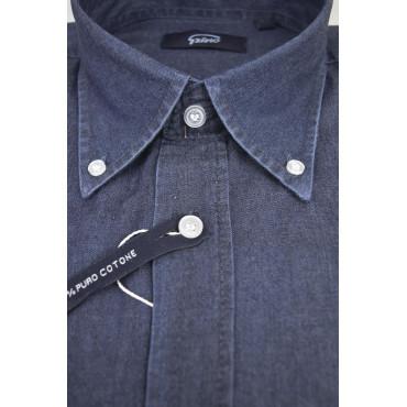 Camicia Uomo Indigo Blue Jeans Stonewash Collo Button Down