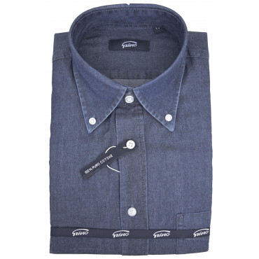 Man Shirt Indigo Blue Jeans Stonewash Button Down Collar