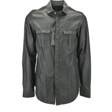 Mauro Grifoni Shirt für Herren, Beige-Braune Pinselstriche - stickerei auf den schultern