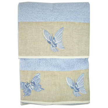 Towels Embroidery Butterflies on the Ruffle Linen Ecru