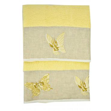 Butterflies Embroidered Towels on Ecru Linen Flounce