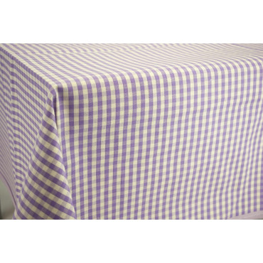 Fabric by the metre Squares Country Purple Yellow Blue Ecru - H180 Pure Cotton