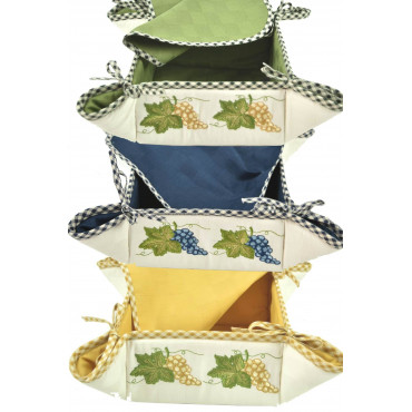 Bread Basket Square Embroidery Grapes